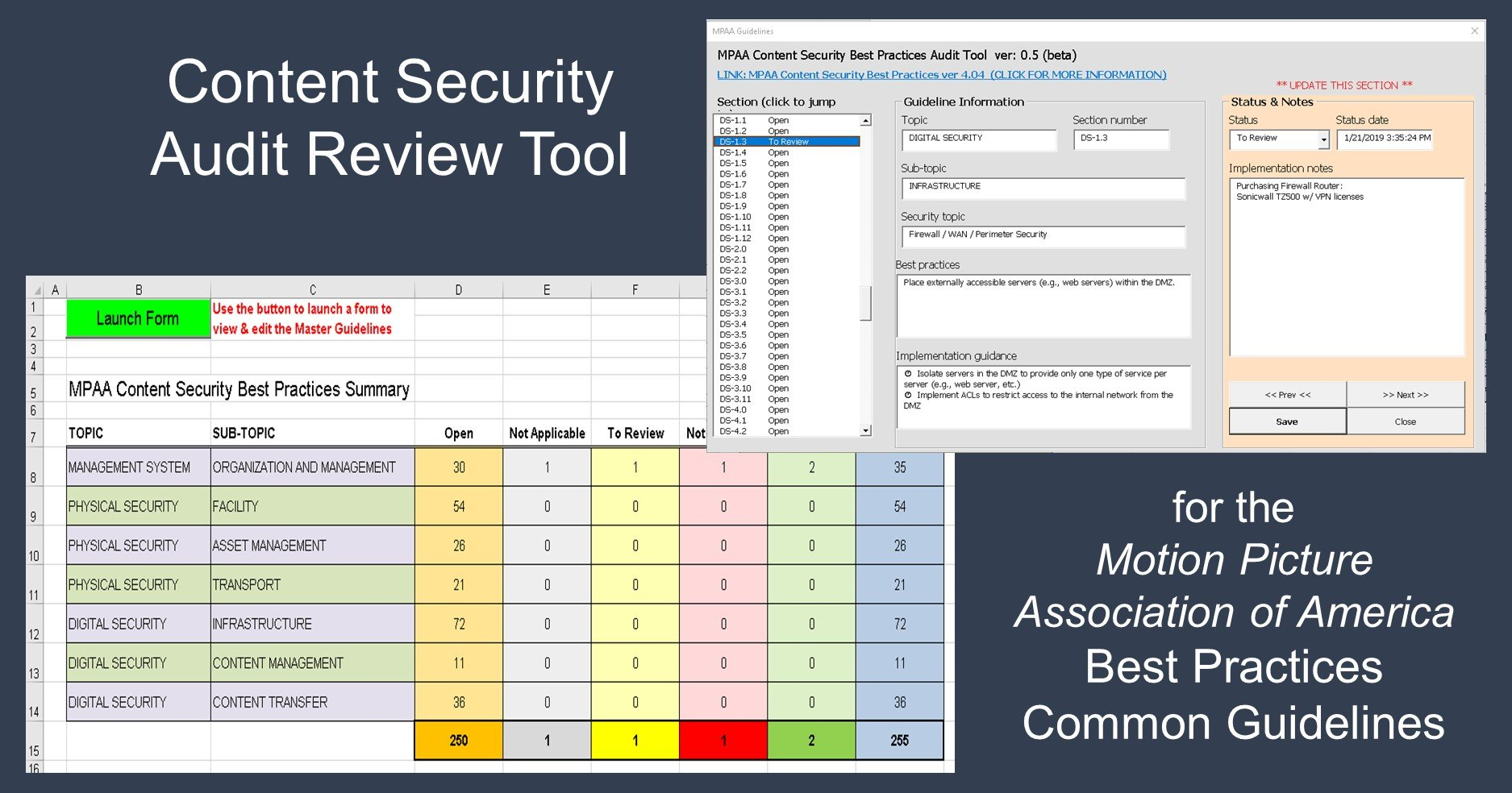 download this free Excel spreadsheet to help you track your MPAA Content Security Audit